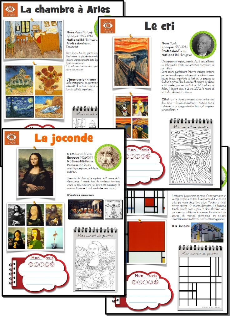 fiches oeuvres d'art: artist of the week with PDF activity sheet. Also has timeline and student evaluation