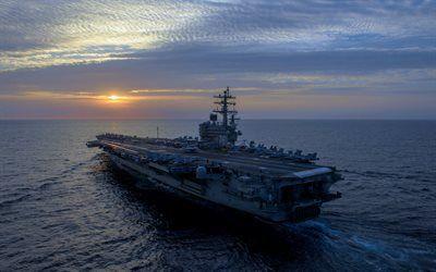Scarica sfondi USS Ronald Reagan, CVN-76, portaerei Americana, US Navy, Nimitz, Tramonto, oceano