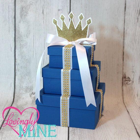 Centro de mesa pequeño   Tres Príncipe de nivel central   Azul con cinta de diamante de imitación de oro   Colores adicionales disponibles