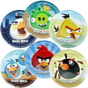 Праздничная одноразовая посуда. Коллекции одноразовой посуды. F 23см Тарелки бумажные ламинированные Angry Birds 6шт