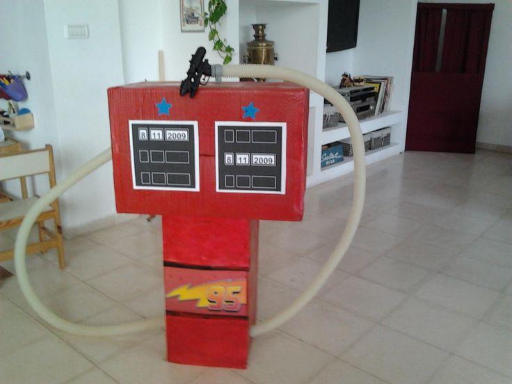 Cardboard gas station i made for speedy mcqueen birthday party #diy #boys #toy