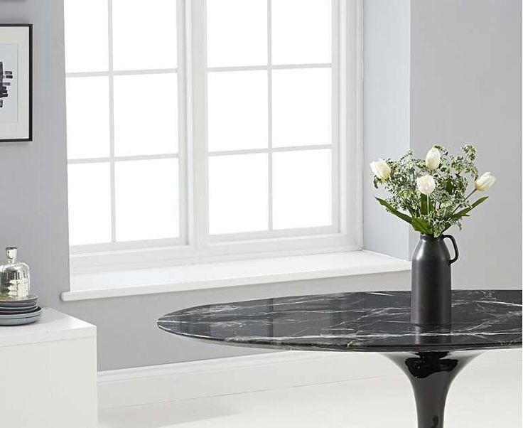 Brighton 160cm ovaler schwarzer Marmor Esstisch mit Tarin ...