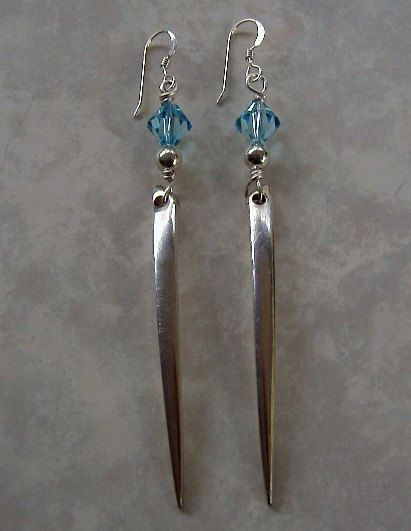 Silver Fork Tine Earrings Recycled Silverware Jewelry Swarovski Crystals Sterling Beads via Etsy
