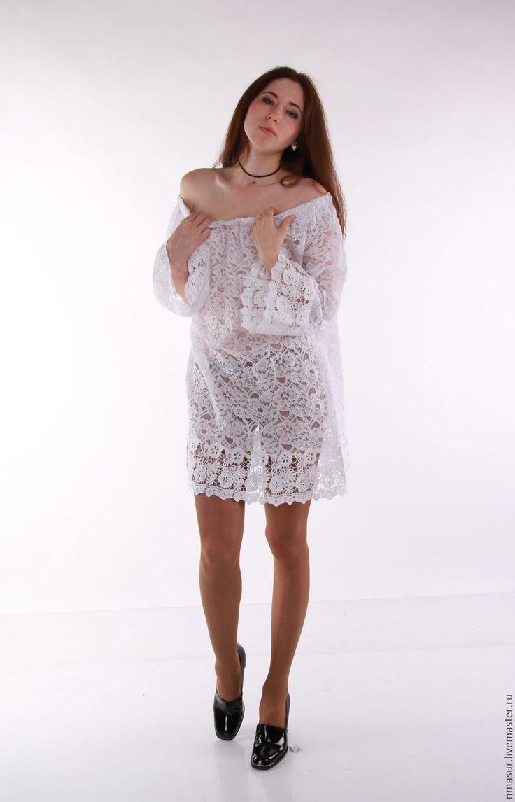 Купить Белая кружевная туника/блузка/платье - белый, цветочный, белая кружевная туника, купить тунику