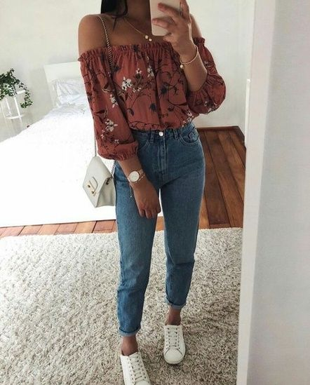 Rust off the shoulder top & mom jeans #OOTD #shopthelook #WeekendLook #TravelOut…