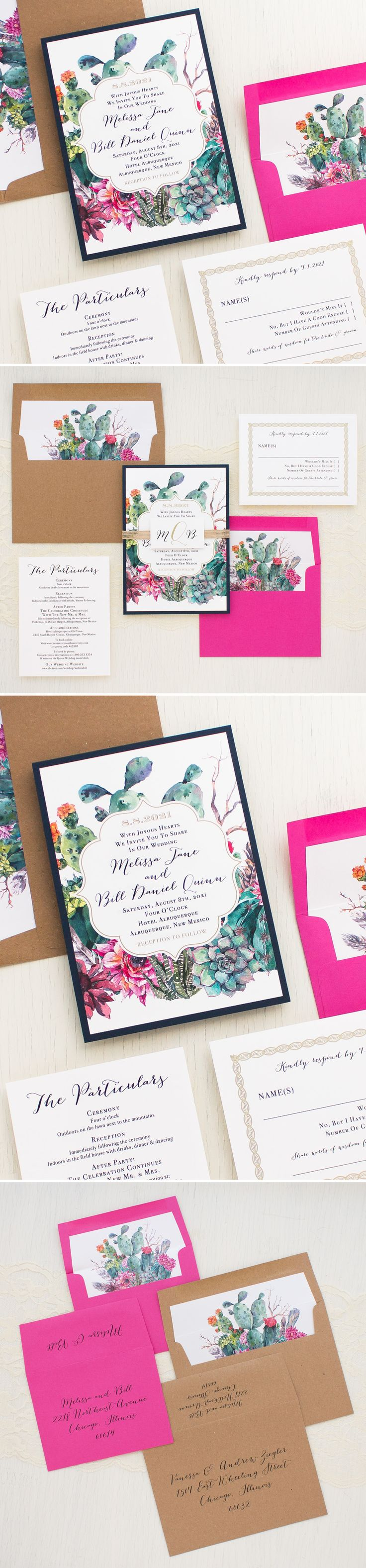 succulent wedding invitations succulent wedding invitations Cactus Inspired Wedding Invites With Bold Blooms Watercolor Succulents Navy Blue Burlap and