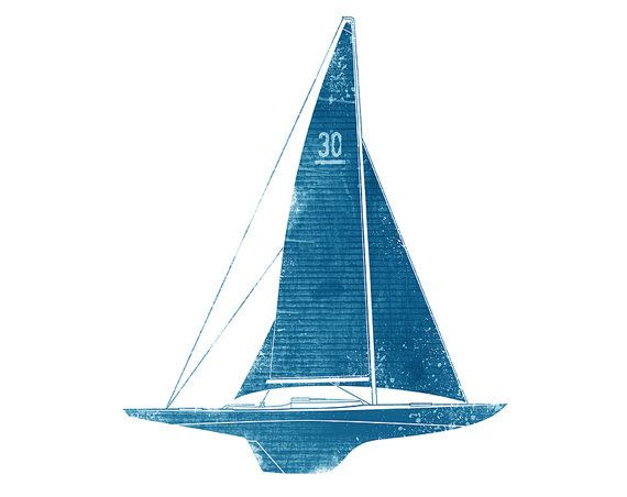 Blue Sailboat. Printable Art. Instant by DigitalArtDownloads, $4.95