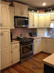 how to paint cabinets using annie sloan the reveal, kitchen cabinets, painting, Each cabinet got 3 coats some 4 of Annie Sloan Old White