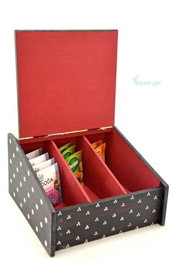 Handmade Wooden Tea Box Happy Hen by WoodyGift on Etsy
