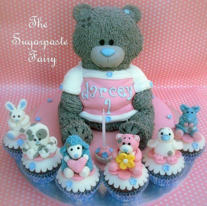 By the sugar paste fairy teddy bear cakes