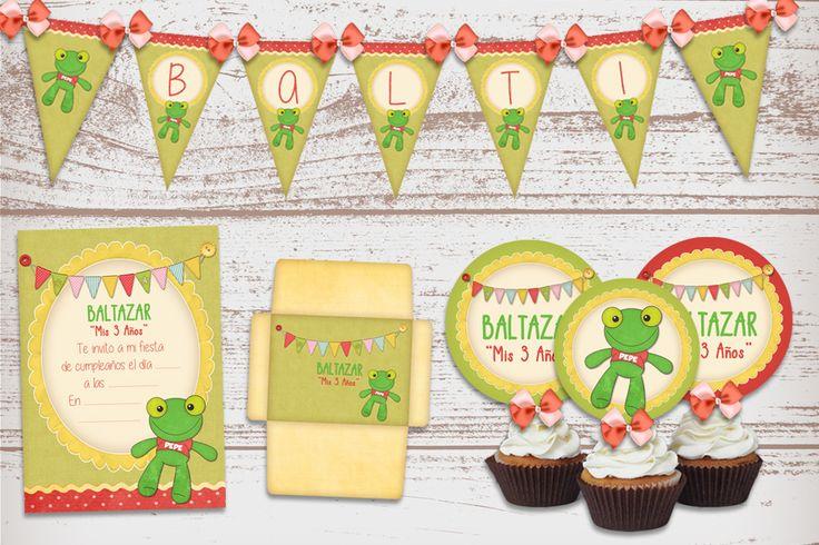 Kit Imprimible del Sapo Pepe Vintage, para cumpleaños de Nenas y Nenes.