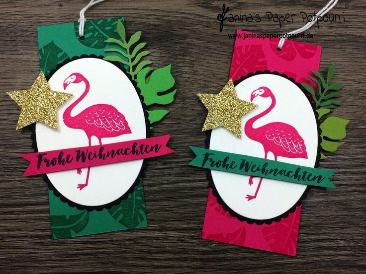 jpp - Anhänger tropische Weihnachten / tropical Christmas / tags / flamingo / Stampin' Up! / Pop of Paradise / Tannenzauber / Pflanzen Potpourri / Lagenweise Ovale / Stanze mittelgroßer Stern www.janinaspaperpotpourri.de