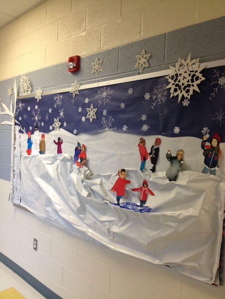Winter bulletin board. Snow scene Using childrens ...   Winter Unit