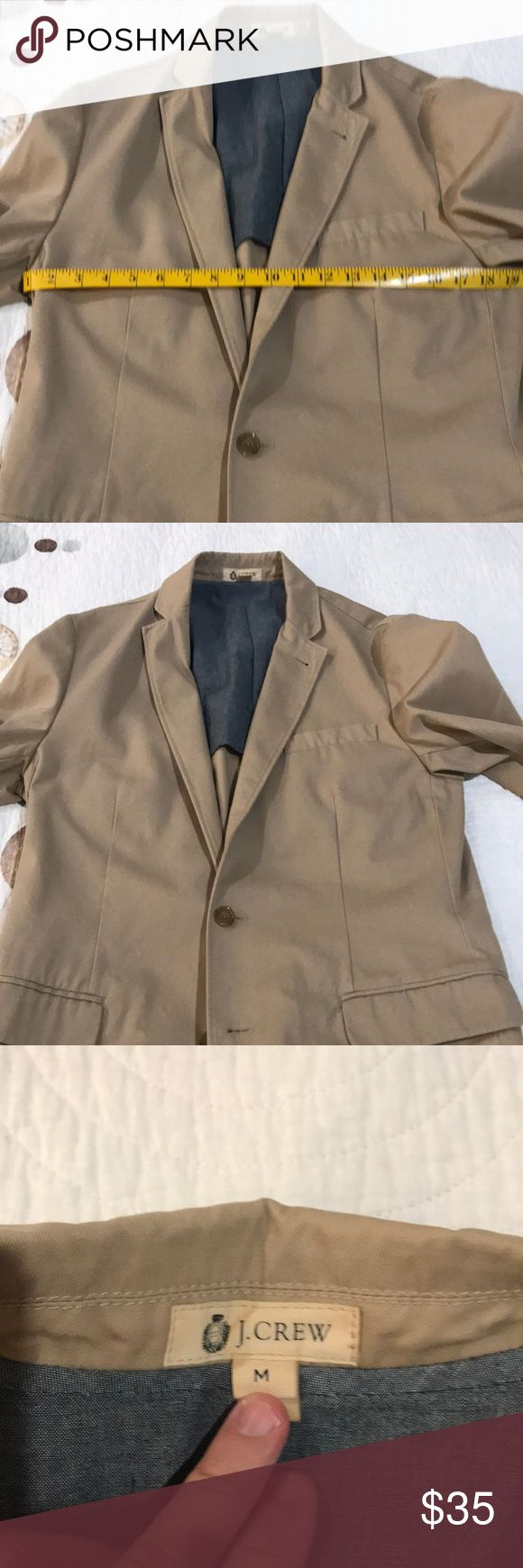 J Crew Ludlow khaki blazer. A J Crew Ludlow khaki cotton blazer. It is tagged as a medium. My suit size is 40R and it fits me fine. The blazer has two buttons and is single vented. J. Crew Suits & Blazers Sport Coats & Blazers