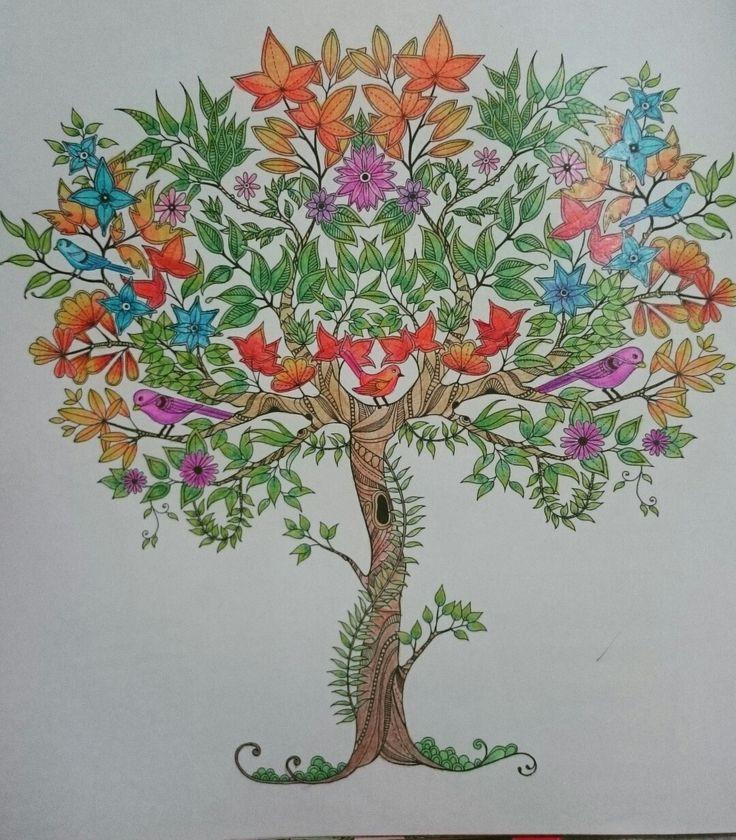 Johanna Basford Secret Garden Esrarengiz bahçe boyama kitabı ağaç progress monami 36 lı kuru boya