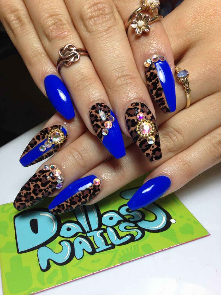 Blue and leopard all handpainted