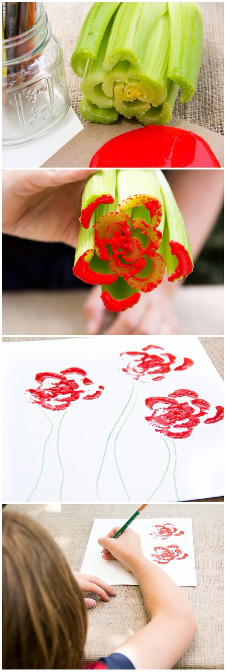 DIY Celery Painting/ Moonfrye/ Paint Crafts/ Repurposed/ Kids Crafts/ Kids Art Projects