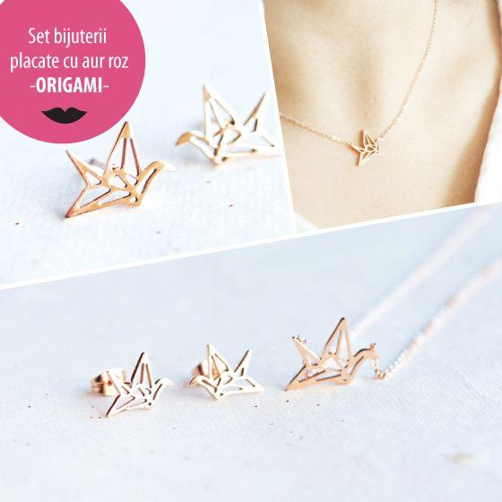 Set bijuterii placate cu aur roz - ORIGAMI - MSM-Shop