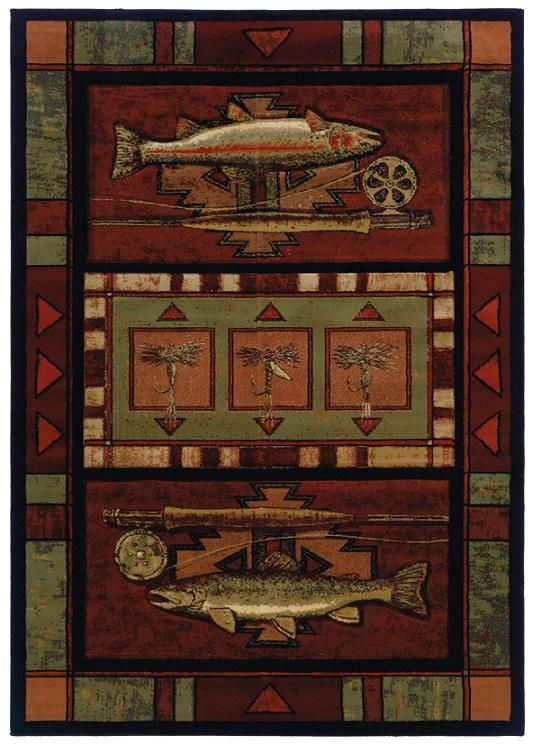 Rainbow Trout Cabin Rug Showcases Two And Rod Reels With Shades Of Deep Sage Orange Beige Burgundy Red Making A Rustic Decor Touch