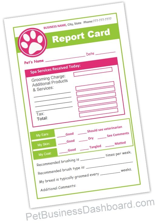 Grooming Receipt - Dual function pet grooming forms serves as a handwritten grooming receipt AND a pet report card. Comes as a ready to print form AND an editable template. Edit all colors & text right online. http://www.petbusinessdashboard.com/store/p29/Grooming_Receipt.html