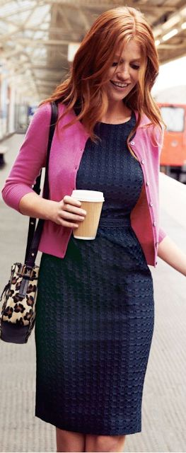 pink cardigan, navy sheath dress                                                                                                                                                                                 More