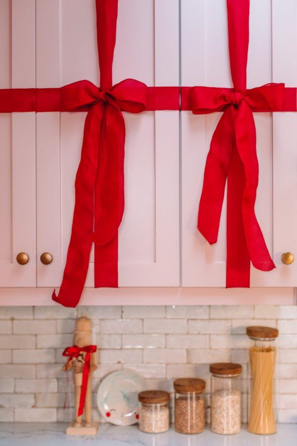 How To Turn Your Kitchen Cabinets Into Christmas Presents Christmas Bows Diy Snowman Christmas Decorations Christmas Bows