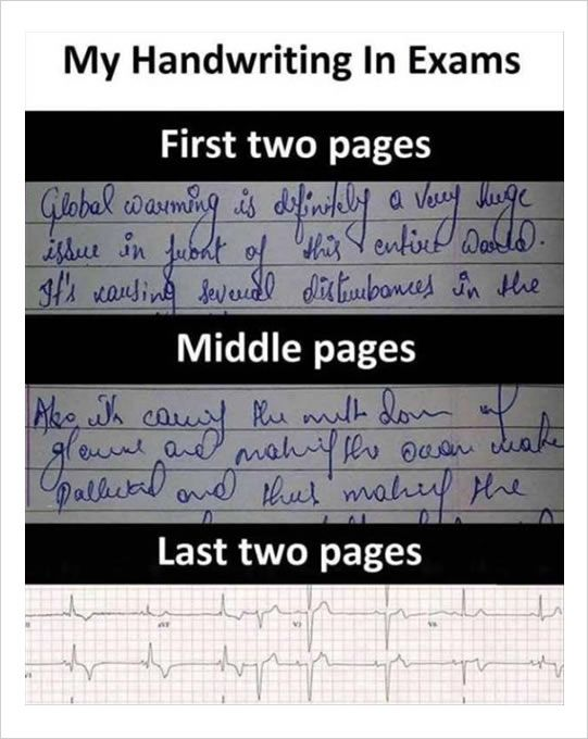 #7 The evolution of handwriting in exams.