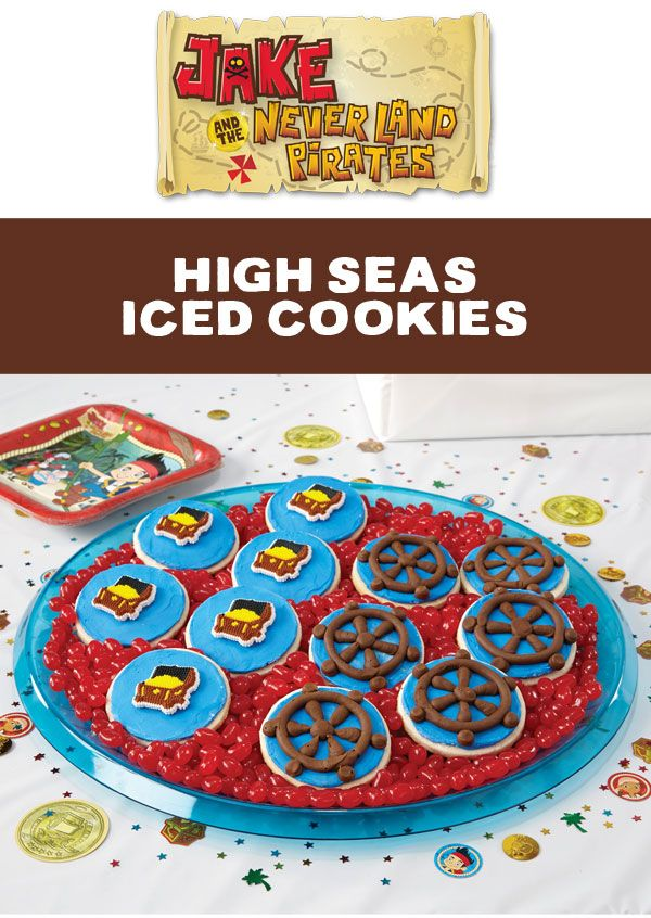 It's easy to take your favorite cookies, even store-bought, on a high-seas journey with Jake! Use Wilton's Ready-To-Use Decorator Icing to ice the cookies in blue ocean waves and decorate with the ship's wheel. Or, for an even faster treat, top with a Jake and the Never Land Pirates Icing Decoration.