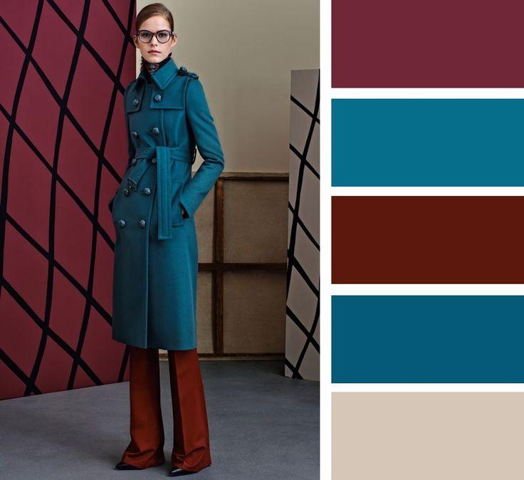 Пример контраста в приглушенных цветах: темный бирюзовый в сочетании с коричневым.