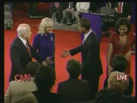 "John McCain Refuses to shake hands with Barack Obama - 2nd Presidential ...  Worried about Cam Newton's press conference. Show the lack of ""sportsmanship/class"" exhibited by John McCain during presidential debate."