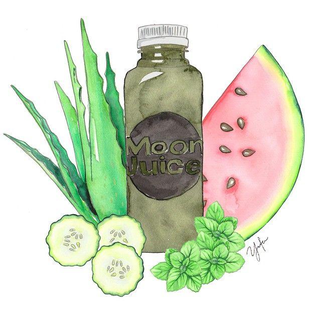 J U I C E  F I E S T  Starting the week with a healthy @moonjuiceshop green juice with aloe vera + watermelon + mint + cucumber {#moonjuice #greenjuice #organic #moonjuiceshop #love #health #watercolor #illustration}