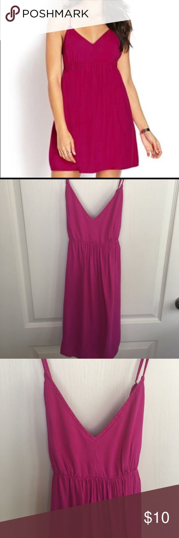 Forever 21 strappy back sundress NWOT hot pink sundress with open back. 100% rayon Forever 21 Dresses Mini