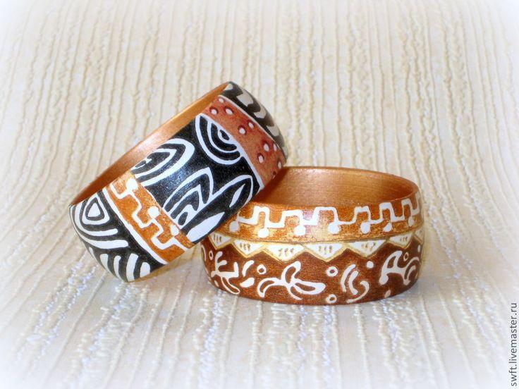 Купить Женские браслеты из дерева Африканские узоры. Декупаж, коричневый - комплект украшений, африка
