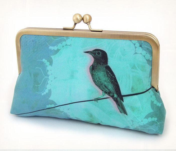 Vogel auf der Leitung, Abendtasche/ Geldbörse von Red Ruby Rose auf DaWanda.com