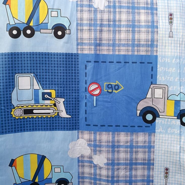 Childrens Trucks and Digger Patchwork Print 100% Cotton Fabric - Sold per metre