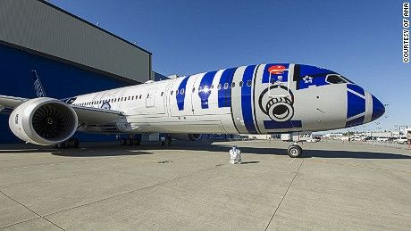 "ANA and Boeing have rolled out the R2-D2 jet, the first of three planes to be decorated with ""Star Wars"" livery"