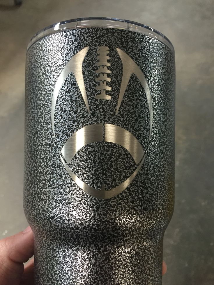 Football on Silver texture powder coat.  30 oz Yeti Rambler