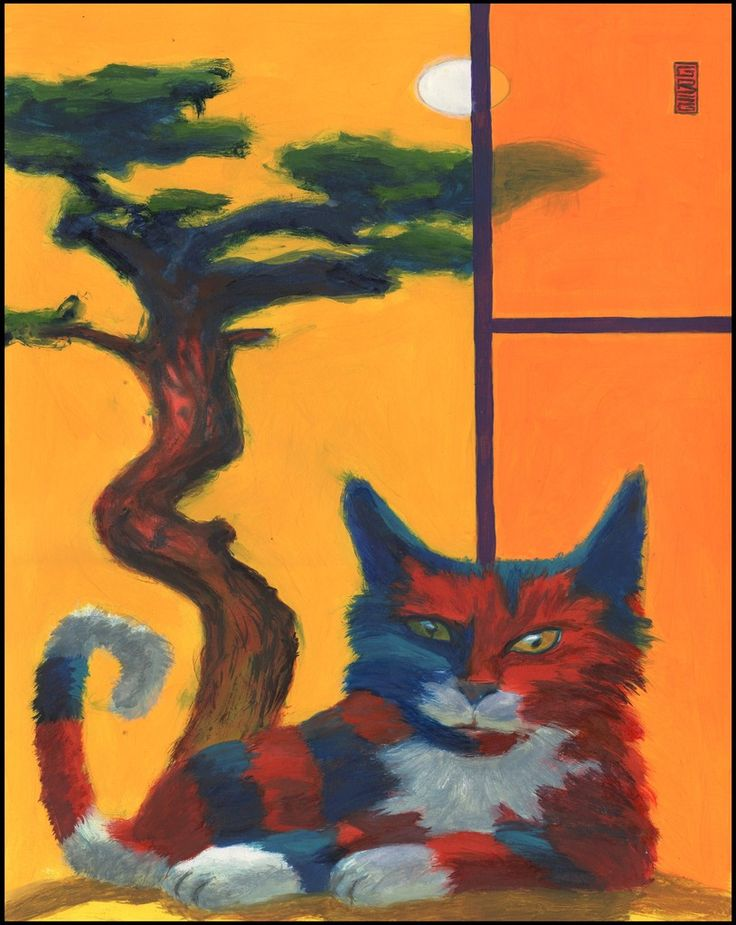 Red White and Blue Cat painting by Gregory Hergert