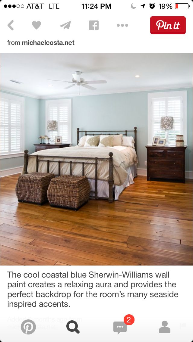 Like the plantation shutters, hardwood floors match rest of house