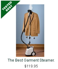 The Best Garment Steamer.  This model earned The Best rating because it removed wrinkles and produced steam the fastest. The Best model removed wrinkles from a silk scarf, a wool suit coat, and a cotton shirt in 1 1/2 minutes on average, unlike lesser models that took 50% longer. The Best Garment Steamer emitted steam in only 60 seconds, faster than all competing models, and it was the only unit with steam-control buttons located conveniently on the hose handle.