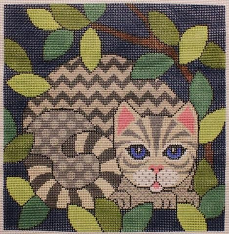 JP Needlepoint # A331 Out Cattin Around with Silver Tabby