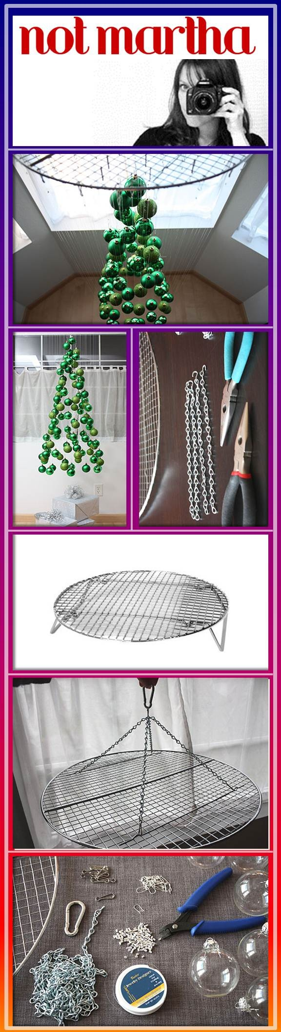 Not Martha is amazing. Her tutorials are easy to follow. Great Blog!! a 17″ steamer rack from a restaurant supply store; about 5 feet of lightweight jack chain; a small carabiner; 100 basic ornament hooks; one roll, 500 feet, monofilament jewelry string (not the stretchy sort); 200 jewelry crimp beads or tubes; jewelry crimping tool; 100 lanyard hooks; 100 ornaments. Picture shows earring wires, but lanyard hooks worked better. Over Dinner Table, not too low