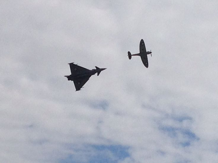 Battle of Britain 75 Typhoon and Spitfire display at RAF Cranwell families day