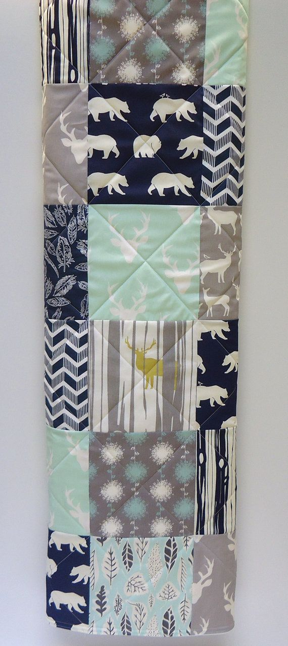 Baby Boy Quilt, Modern Mint and Navy Blue with Gray Woodland Baby Quilt-Buck, Antler, Stag, Bear Hike, Feathers, Deer Baby Blanket This quilt