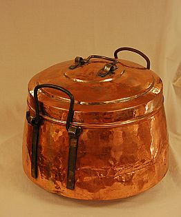 large Copper Pot with Iron Handles