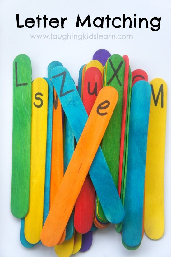 Letter matching activity for kids using craft sticks