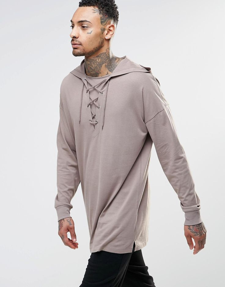 ASOS Oversized Longline Long Sleeve T-Shirt With Lace Up Hood £20
