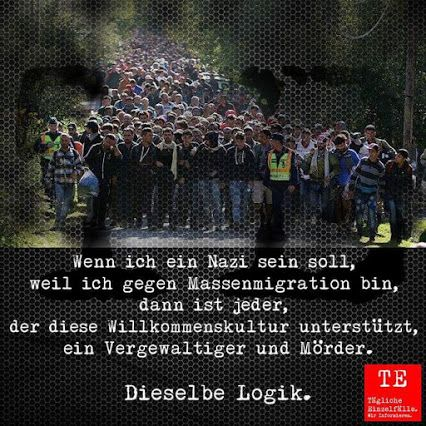 Wenn ich ein NAZI sein soll, weil ich GEGEN MASSENMIGRATION bin, dann ist jeder, der diese WILLKOMMENSKULTUR UNTERSTÜTZT, ein VERGEWALTIGER und MÖRDER. - Dieselbe Logik!
