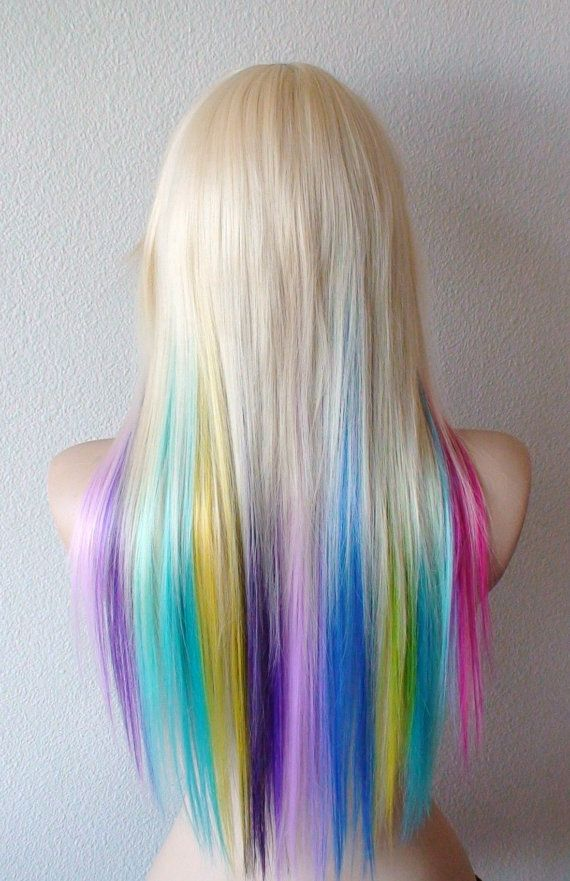 Rainbow wig. Blonde hair rainbow ombre wig. Pastel Pink ...