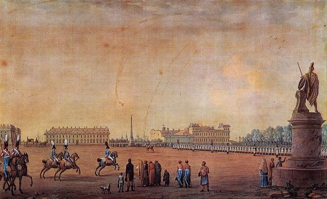 Colored Etching of The Field of Mars in 1807 by artist Benjamin Patersen. The Field of Mars was made early in the building of the City of Saint Petersburg, Russia during reign of Tsar Peter I The Great as a Large Meadow & Walking Park. In 1799 it became a military drill ground that erected monuments to the victories of the Russian Army & where parades & military exercises took place regularly. The Rumyantsev Obelisk & a monument to Alexander Suvorov were built in the Field, both great…